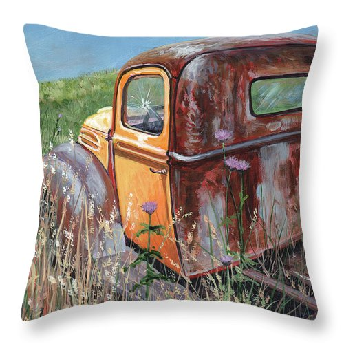 Timithy Throw Pillow featuring the painting Old Yellow by Timithy L Gordon