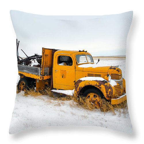 Yellow Throw Pillow featuring the photograph Old Yellow by Todd Klassy