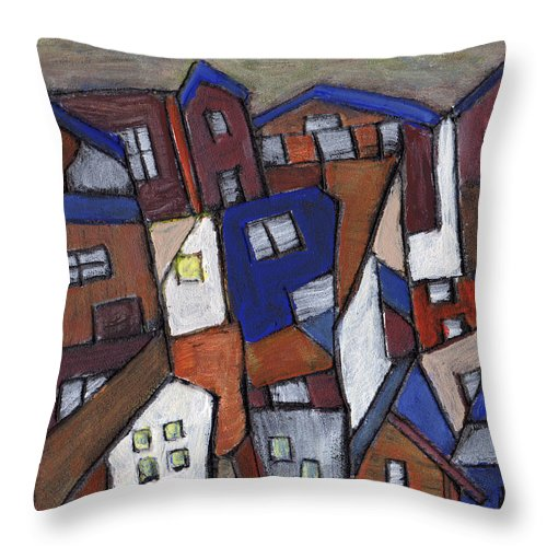 Urban Throw Pillow featuring the painting Olde Towne by Wayne Potrafka