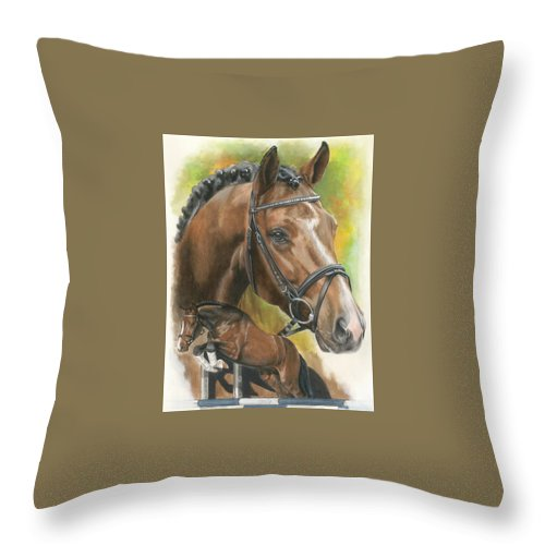 Hunter Jumper Throw Pillow featuring the mixed media Oldenberg by Barbara Keith