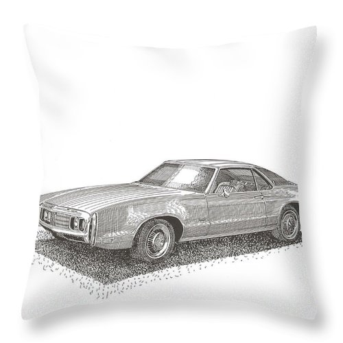 1970 Oldsmobile Toronado Front Wheel Drive Throw Pillow featuring the drawing Oldsmobile Tornado S C by Jack Pumphrey