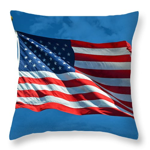 Flag Throw Pillow featuring the photograph Ole Glory by Frank Larkin