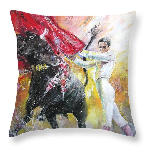 Animals Throw Pillow featuring the painting Ole by Miki De Goodaboom