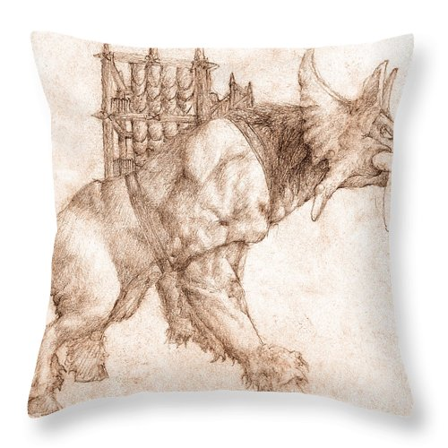 Lord Of The Rings Throw Pillow featuring the drawing Oliphaunt by Curtiss Shaffer