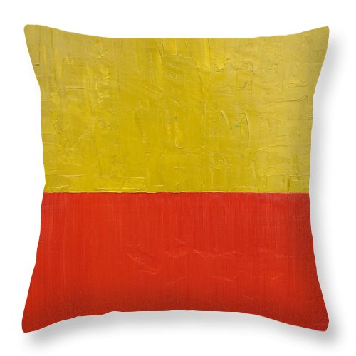 Red Throw Pillow featuring the painting Olive Fire Engine Red by Michelle Calkins