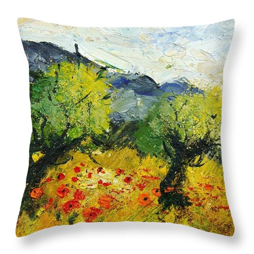 Flowers Throw Pillow featuring the painting Olive Trees And Poppies by Pol Ledent