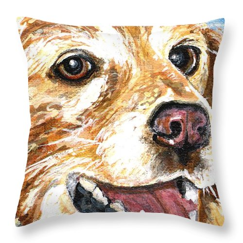 Charity Throw Pillow featuring the painting Oliver From Muttville by Mary-Lee Sanders