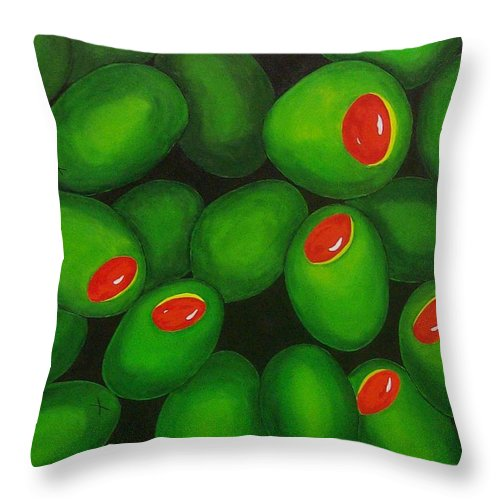 Olive Throw Pillow featuring the painting Olives by Micah Guenther