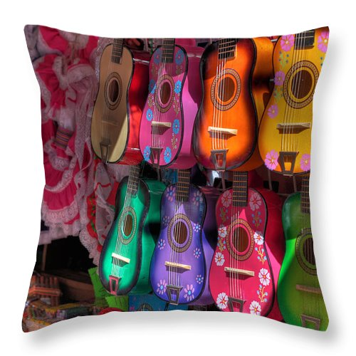 Hdr Throw Pillow featuring the photograph Olvera Street Ukeleles by Richard Hinds