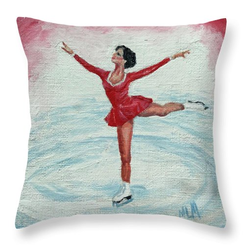 Red Throw Pillow featuring the painting Olympic Figure Skater by ML McCormick