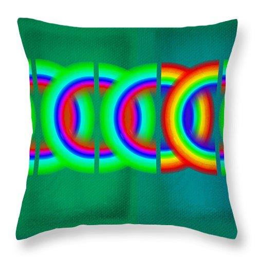 Abstract Throw Pillow featuring the painting Olympic Green by Charles Stuart