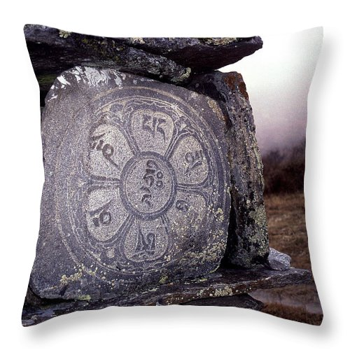 Langtang Throw Pillow featuring the photograph Om Mani Padme Hum by Patrick Klauss