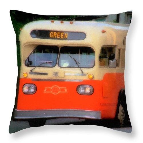 Bus Throw Pillow featuring the digital art Omaha Retro by RC DeWinter