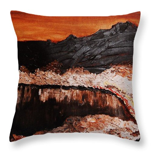 Landscape Throw Pillow featuring the painting Oman by Lauren Luna