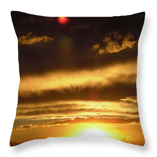 Sunset Throw Pillow featuring the photograph Ominous Clouds by Stephanie Moore