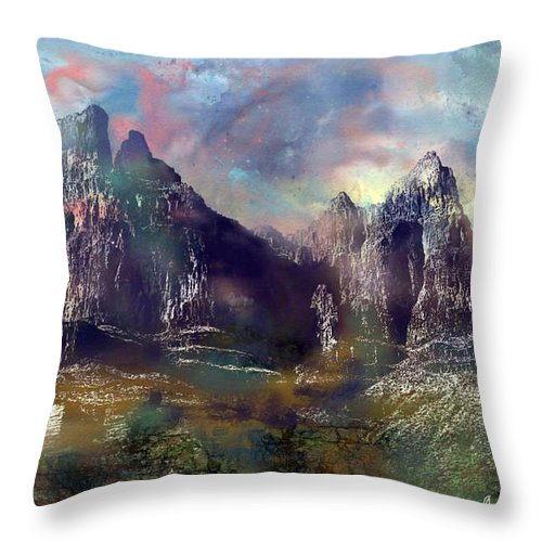 Mountains Throw Pillow featuring the digital art Ominous Sky by Arline Wagner