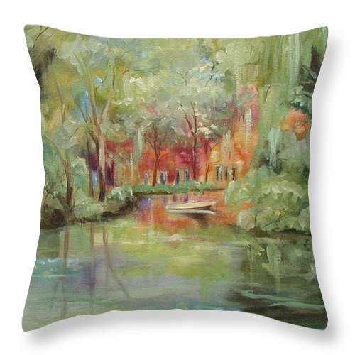 Bayou Throw Pillow featuring the painting On A Bayou by Ginger Concepcion