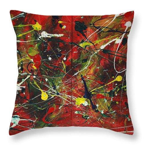 Splatter Throw Pillow featuring the painting On A High Note by Jacqueline Athmann
