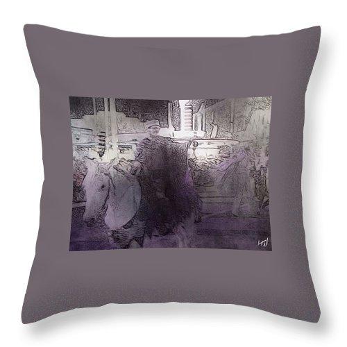 Street Horror Distortion Dream Terror Dark Noir Lovecraft Throw Pillow featuring the digital art On A Pale Horse by J Wagner