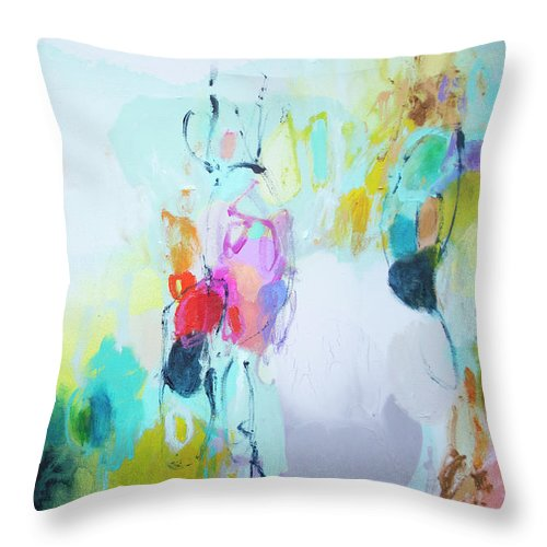 Abstract Throw Pillow featuring the painting On A Road Less Travelled by Claire Desjardins