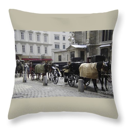 Horses Throw Pillow featuring the photograph On Call by Mary Rogers