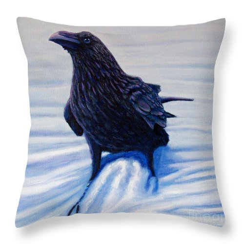 Raven Throw Pillow featuring the painting On Canyon Road by Brian Commerford