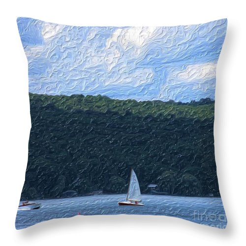 Landscape Throw Pillow featuring the photograph On Cayuga Lake by David Lane