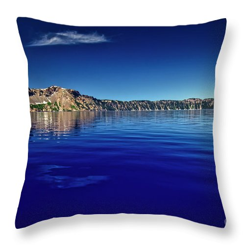 Crater Lake Throw Pillow featuring the photograph On Crater Lake by Bruce Block