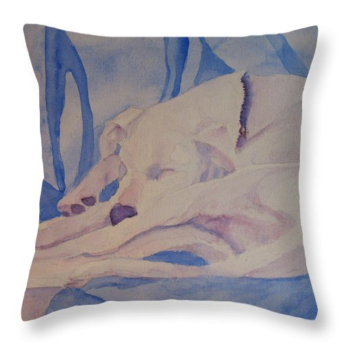 Dog Throw Pillow featuring the painting On Fallen Blankets by Jenny Armitage