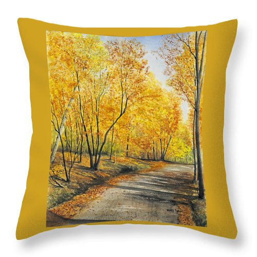 Autumn Throw Pillow featuring the painting On Golden Road by Mary Tuomi