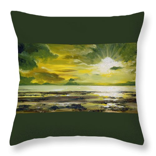 Sunset Throw Pillow featuring the painting On Golden Shores by Mary Tuomi