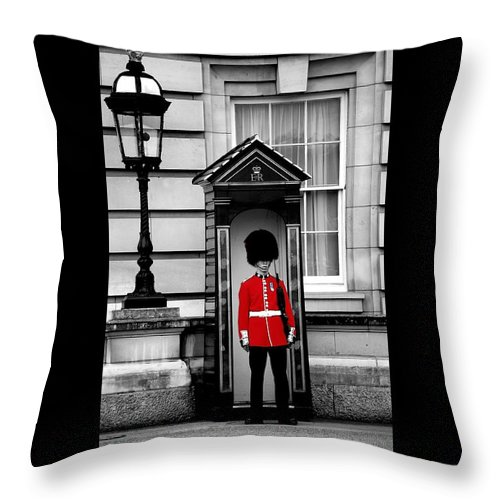 London Throw Pillow featuring the photograph On Guard by J Todd