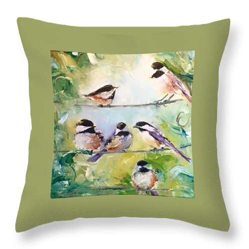 Chickadee Throw Pillow featuring the painting On-Line Dating - For the Birds by Sarah Jane Conklin