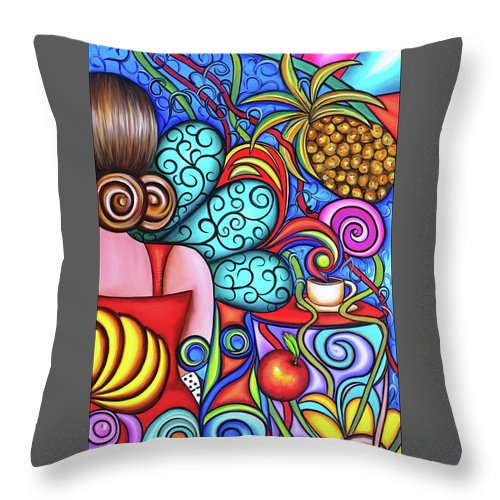 Cuba Throw Pillow featuring the painting On My Mind by Annie Maxwell