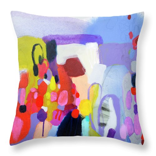 Abstract Throw Pillow featuring the painting On My Mind by Claire Desjardins