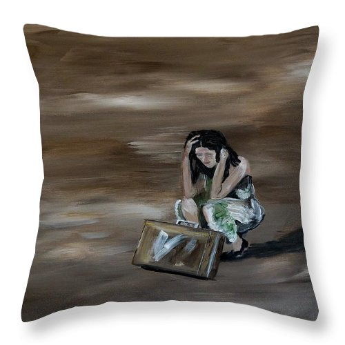 Woman Throw Pillow featuring the painting On My Own by Leslie Allen