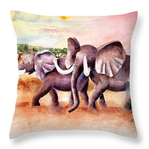 Elephants Throw Pillow featuring the painting On Safari by Arline Wagner