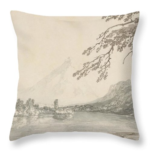 On The Aar Between Unterseen And Lake Of Brienz Throw Pillow featuring the drawing On The Aar Between Unterseen And Lake Of Brienz by Grypons Art