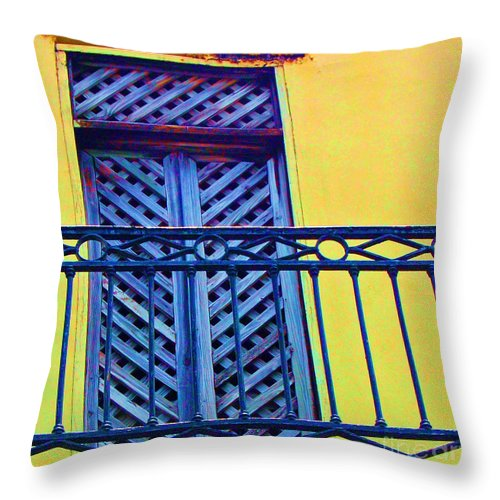 Balcony Throw Pillow featuring the photograph On The Balcony by Debbi Granruth