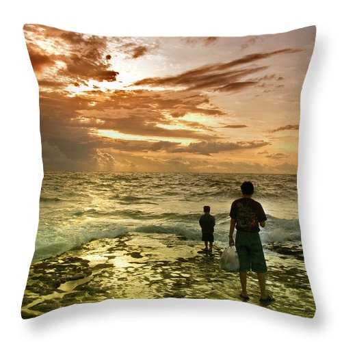 Throw Pillow featuring the photograph On The Beach by Charuhas Images