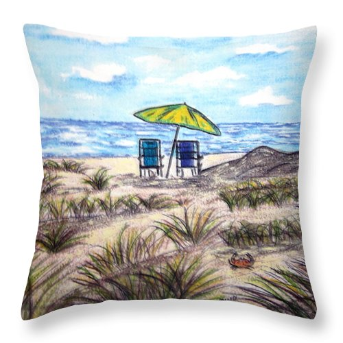 Beach Throw Pillow featuring the painting On The Beach by Kathy Marrs Chandler