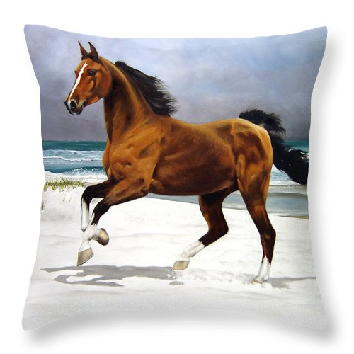 Horse Throw Pillow featuring the painting On The Beach by Marc Stewart