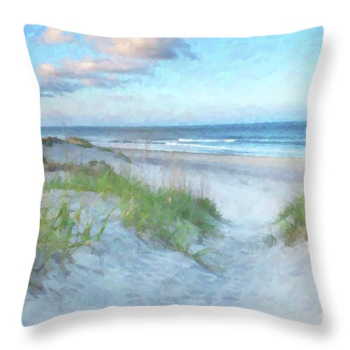 Beach Throw Pillow featuring the digital art On The Beach Watercolor by Randy Steele