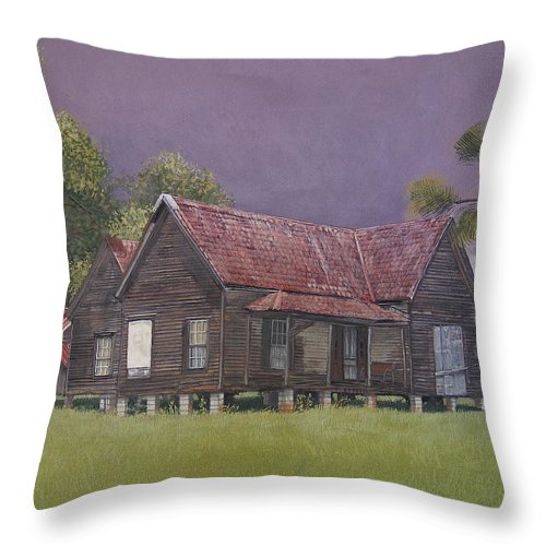 Landscape Throw Pillow featuring the painting On The Blocks by Peter Muzyka