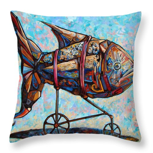 Surrealism Throw Pillow featuring the painting On The Conquer For Land by Darwin Leon