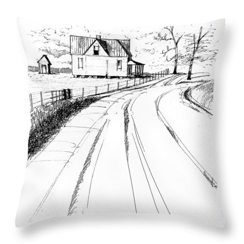 Landscape Throw Pillow featuring the drawing On The County Line by Peter Muzyka