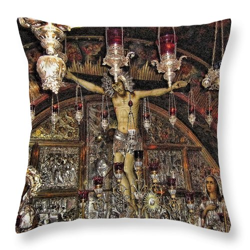 Jesus Throw Pillow featuring the photograph On The Cross by Douglas Barnard
