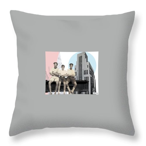 Collage Throw Pillow featuring the digital art On The Edge by Pixel Wit