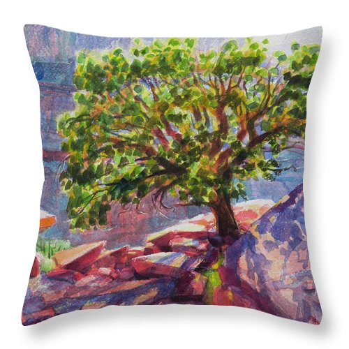 Southwest Throw Pillow featuring the painting Living On The Edge by Steve Henderson