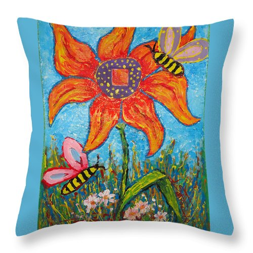 Landscape Throw Pillow featuring the painting On The Flower by Ioulia Sotiriou